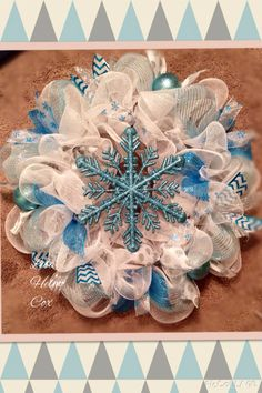 Teal snowflake with silver polka dots, teal/white chevron &!white mesh, winter wreath