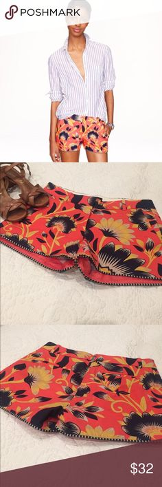 "NWOT J. Crew pattern shorts perfect for summer NWOT J. Crew orange and navy floral pattern shorts perfect for summer. Size 0. Waist is 14.5"" across laying flat, and inseam is 3"". Perfect condition. J. Crew Shorts"