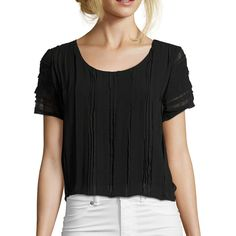 Wyatt Black Chiffon Flyaway Back Cropped Short Sleeve Blouse... (265 PEN) ❤ liked on Polyvore featuring tops, blouses, black, scoop neck top, short sleeve tops, scoopneck top, chiffon blouse and short sleeve crop top