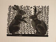 Fighting Rabbits Original Linocut