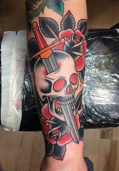 skull dagger roses tattoo myke chambers