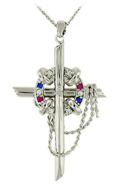 """This meaningful """"Crisis Pregnancy Center"""" cross necklace is fashioned from 925 sterling silver and features a life preserver and """"rope"""" chain. The life preserv..."""