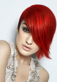 If you're fond of your new cut and you need a radiant shade, check out the ultra-glam hair color ideas 2012 below. Never underestimate the visual power of a high fashion hue. Long Fringe Hairstyles, Short Hairstyles For Women, Straight Hairstyles, Cool Hairstyles, Short Red Hairstyles, Funky Haircuts, Hairstyles Pictures, Short Haircut, Hairstyles Haircuts
