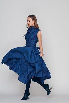 Oversized Dress, Loose Dress, Blue Dress, Turtleneck Dress, Plus Size Boho Dress, Holiday Dress, Sun Dress, Ribbon Dress, Blue Dress 2