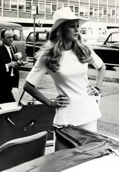 Ursula Andress at London's Heathrow Airport, 1969