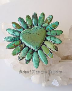 Federico signed large green turquoise & sterling silver heart pin pendant |upscale Southwestern artisan handcrafted turquoise jewelry | Schaef Designs Jewelry | San Diego CA