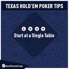 #PokerTips - As a beginner, it's best to start at a single table. Join a table at low stakes and build up your confidence.