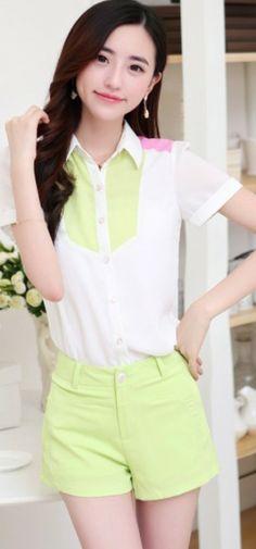 White Summer Blouse Short Sleeve YRB0033