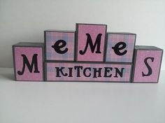 Meme's Kitchen Wood Block Sign  Pink and by ForeverYoursCreation, $18.00