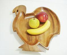 vintage thanksgiving turkey tray wood bowl by Sassydoggs on Etsy