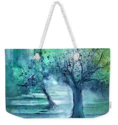 Olive Trees in Moolight Weekender Tote Bag x by Sabina Von Arx. The tote bag includes cotton rope handle for easy carrying on your shoulder. Weekender Tote, Tote Bag, Teal Blue, Blue Green, Green Bathroom Decor, Olive Tree, Cotton Rope, Bag Sale, Green Colors