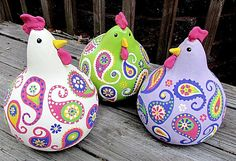chickens gourd art, paisley, painted gourds, purple, green, pink