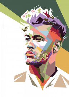 Neymar jr style in wpap Pop Art Poster Print Illustration Pop Art, Neymar Jr Wallpapers, Pop Art Poster, Pop Art Face, Geometric Drawing, Pop Art Portraits, Football Art, Football Wallpaper, Diy Canvas Art