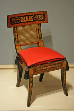 American Federal Paint-Decorated & Stencilled Fancy Side Chair - Attributed to Henry Latrobe - Baltimore, Maryland - Circa 1810.