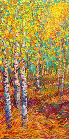 By Iris Scott | oil on canvas | finger painting | originals and prints | www.IrisScottFineArt.com | The crisp fall air blows through yellow and orange, candy-like leaves making them dance around tall, thin tree trunks.