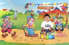 Fotomontagem com a foto da criança com o tema Circo