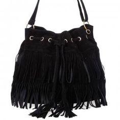 Dresslink - Dresslink Solid Faux Suede Fringe Tassels Cross-body Bag - AdoreWe.com