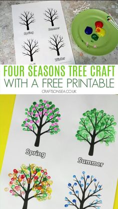 Grab our free template and make this easy four seasons craft for kids. Hand Crafts For Kids, Toddler Crafts, Art For Kids, Seasons Activities, Art Activities For Kids, Kindergarten Crafts, Preschool Crafts, Four Seasons Art, Art Drawings For Kids