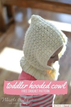 Cute Cozy Free Crochet Toddler Hooded Cowl Pattern