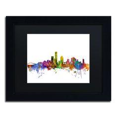 Michael Tompsett 'Milwaukee Wisconsin Skyline' Matte, Framed Canvas Wall Art