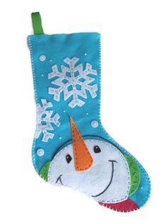 Snowman Catching Snowflakes Felt Christmas by AlbracaDesigns