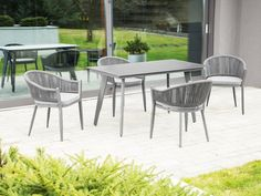 Hermantown 4 Seater Dining Set with Cushions Sol 72 Outdoor Garden Dining Set, Outdoor Dining Set, Modern Dining Table, Garden Table, Garden Chairs, Outdoor Decor, Garden Furniture Sets, Outdoor Furniture Sets, Metal Table Frame