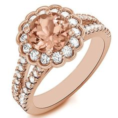 Jewelry Point - Round Peach Pink Morganite Diamond Halo Rose Gold Engagement Ring, $1,590.00 (http://www.jewelrypoint.com/round-peach-pink-morganite-diamond-halo-rose-gold-engagement-ring/)