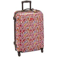 Betsey Johnson Candy Cane Large Roller Luggage (Red/White) Luggage ($180) ❤ liked on Polyvore featuring bags and luggage