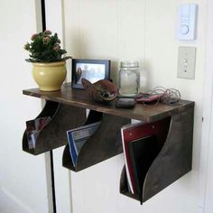 Magazine holders hung under shelf - great mail sorting idea!