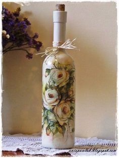 Resultado de imagen de how to fabric decoupage wine bottle
