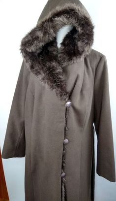 9334349f571 Dennis Basso Women's Plus 2X Full Length Faux Wool & Fur Coat With Hood  NWOT