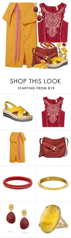 """""""Indian Summer"""" by petalp ❤ liked on Polyvore featuring Prada, H&M, Rosie Assoulin, Tory Burch, BillyTheTree, Alexis Bittar, Marco Bicego, Ice, outfit and skirt"""