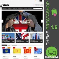 Thème PrestaShop 1.6 responsive Bootstrap pour site e-commerce dédié à la vente de drapeaux : drapeaux de pays, drapeaux militaires, drapeaux personnalisés…