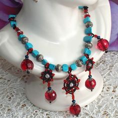 Handmade Antique style Unique Turquoise beaded glass Necklace Gift Crystals