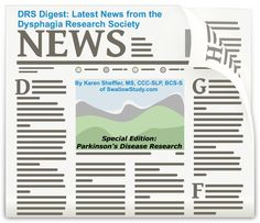 Picture of news paper heading announcing the Latest news from Dysphagia Research Society 2016 Annual Meeting on Parkinson's Disease and swallowing