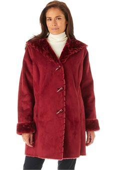Fashion Bug Plus Size: Jackets & Coats: Women's Plus Size Coat In Faux Shearling With Horn Toggle Closure, Hood, www. Faux Fur Lined Coat, Suits For Women, Clothes For Women, Plus Size Kleidung, Full Figured Women, Plus Size Coats, Denim Coat, Winter Coats Women, Plus Size Women