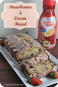 Strawberries and Cream Bread   Cooking In Stilettos http://cookinginstilettos.com/strawberries-and-cream-bread/  #ExtraSweetCreamyCGC #CleverGirls
