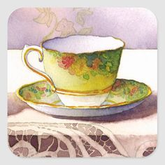 Iphone Design, Vintage Cups, Decoupage Paper, Different Shapes, Teacups, Custom Stickers, Watercolor Paintings, Art Projects, Art Pieces