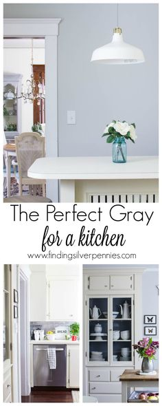 The perfect gray for a kitchen. Walls --  Gray Owl in Eggshell by Benjamin Moore •Cabinet Color – Bone White in Semi Gloss by Benjamin Moore •Trim Color – White Dove in Semi Gloss by Benjamin Moore •Interior China Cabinet – Soap Stone by Fusion Mineral Paint