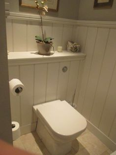 grey tongue and groove cloakroom Small Toilet Room, Guest Toilet, Small Space Bathroom, Big Bathrooms, Beautiful Bathrooms, Small Wc Ideas Downstairs Loo, Downstairs Cloakroom, Cottage Toilets, Understairs Toilet