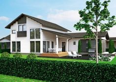 Kontio Merikallio is a spacious and stylishly simple two-storey town house that's ideal for larger families. Construction, Dream House Exterior, Building Materials, Log Homes, Living Area, Townhouse, Floor Plans, Farmhouse, Flooring