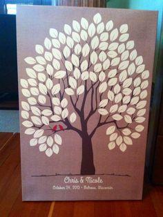 Burlap Wedding Tree Canvas   Guest Book Alternative   Rustic Wedding   Customer Photo   Wedding Color - Red   peachwik.com