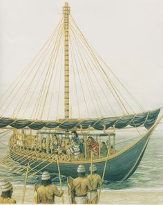 The legendary figure of Theseus arrives at Crete with his black-sailed ship from Athens & his fellow Athenians to end the sacrifice and tribute of their lives to King Minos (Peter Connolly/Minoans/ Theran Ships/Plutarch/user: Aethon)
