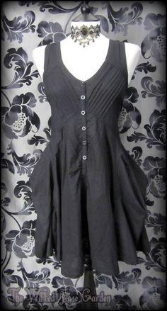 Black Pintuck Hitched Effect Puffball Summer Dress 12 Steampunk Victorian Goth | THE WILTED ROSE GARDEN