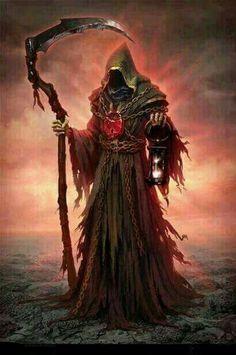 The Grim Reaper - ominous art! Death Reaper, Grim Reaper Art, Grim Reaper Tattoo, Don't Fear The Reaper, Dark Fantasy Art, Fantasy Artwork, Santa Muerte Prayer, Angels And Demons, Character Art