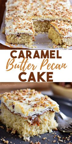 This Caramel Butter Pecan Cake With Bourbon Frosting is the best way to spice up dessert. Every bite is filled with a perfect mix of crunchy pecans, silky smooth caramel, and sweet fluffy frosting. Pecan Desserts, Delicious Desserts, Pecan Recipes, Easy Recipes, Keto Desserts, Baking Recipes, Sweet Recipes, Yummy Food, Cake Mix Recipes