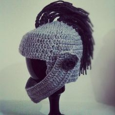 Crocheted knights helmet awesome!