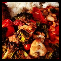 Roasted Masala Cauliflower and Broccoli with Tomatoes from our Sept. VegCookbook, Vegan Indian Cooking.
