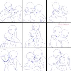 Ideas drawing reference poses group for 2019 Art Drawings Sketches, Cute Drawings, Poses Manga, Wie Zeichnet Man Manga, Family Drawing, Poses References, Drawing Expressions, Comic Drawing, Art Poses