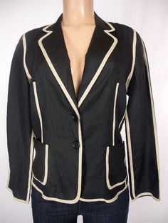 GERARD DAREL Jacket Size 44 L Black Tan 100% Linen Wear To Work Blazer #GerardDarel #BasicJacket
